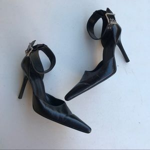ALDO | Black Ankle Strap Stiletto Leather Shoes